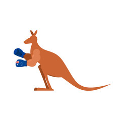 Kangaroo and boxing gloves. Australia boxer. Australian wallaby