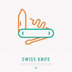 Swiss knife thin line icon. Modern vector illustration of tourism equipment.