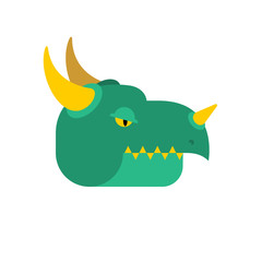 Dragon face green. Mythical Monster with wings. Terrible huge beast. Vector illustration