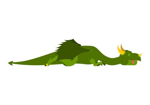 Sleeping dragon. Mythical monster asleep. Vector illustration