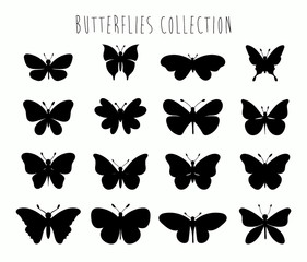 Butterflies collection with different black shapes isolated on white