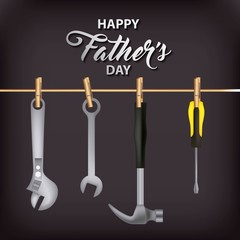 happy fathers day black background shopkeeper many tools vector illustration