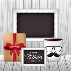 happy fathers day grunge background gift box signboards cup coffee glasses moustache vector illustration