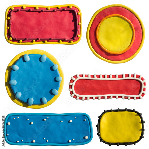 Clay putty, plasticine handmade dimensional shapes and badges ...