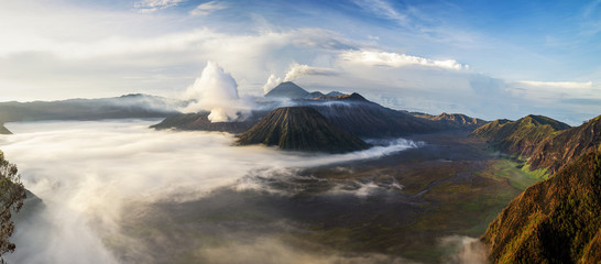 Aerial view of Mt Bromo from Mt Penanjakan, East Java, Indonesia