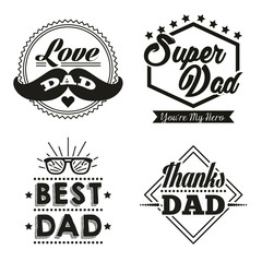 happy fathers day stickers with moustache best dad glasses super hero vector illustration