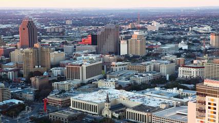 Aerial of San Antonio city center at twilight