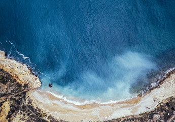 Aerial image lonely paradisaical beach.