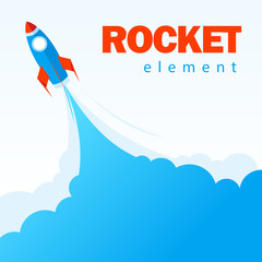 Rocket element design template red, blue color