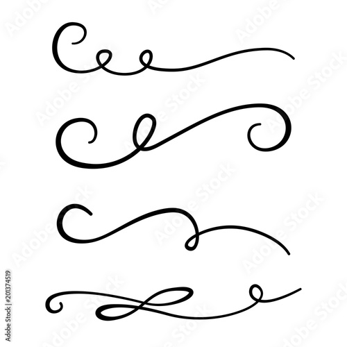 Hand drawn text dividers and vintage elements  Swirls and