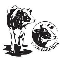 Cow stylized symbol and cow head portrait. Silhouette of farm animal, cattle. Emblem, logo or label for design. Vector illustration.