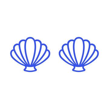 Blue mermaid bra. Outline mermaid top - t-shirt design. Scallop sea shell. Clam. Conch. Seashell - flat vector icon.