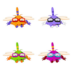 dragonfly with different facial expressions and different color