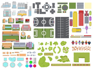 Landscape City elements set isolated on white background. City top view with buildings, trees, roads, cars, people, backyard elements, parking and stadiums. Vector landscape city view from above.