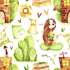 Watercolor sweet home seamless pattern. Pattern with girl, tree, home and sweet home elements.  Perfect for you postcard design, invitations, projects, wedding card, poster, packaging.