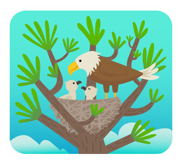 Eagle and Chicks - Clip art of an eagle with it's chicks in a nest on a tree. Eps10
