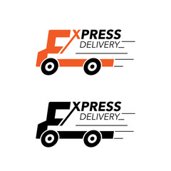 Express delivery icon concept. Truck service, order, worldwide, fast and free shipping.