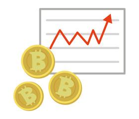ビットコインとグラフのイラスト素材