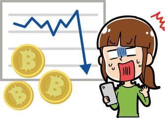 ビットコインが下落してショックを受ける女性のイラスト素材