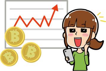 ビットコインが上昇して喜ぶ女性のイラスト素材