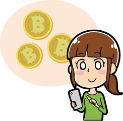 ビットコインと女性のイラスト素材