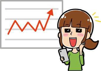 株が上昇して喜ぶ女性のイラスト素材