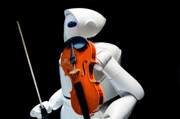 Robot play on violin