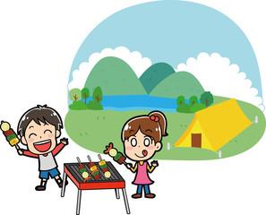 キャンプ場でバーベキューをする子供たちのイラスト素材