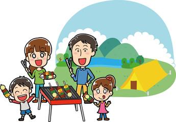 キャンプ場でバーベキューをする家族のイラスト素材