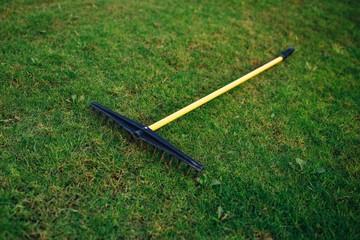 golf course bunker rake on green grass