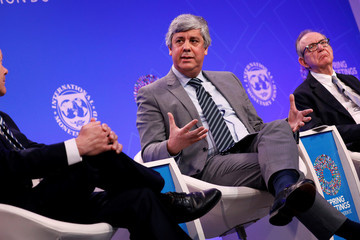 "Eurogroup President Mario Centeno speaks during a panel entitled ""Reforming the Euro Area: Views from Inside and Outside of Europe"" during IMF spring meetings in Washington"