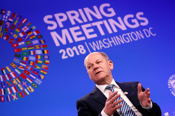 "German Minister of Finance Olaf Scholz speaks during a panel entitled ""Reforming the Euro Area: Views from Inside and Outside of Europe"" during IMF spring meetings in Washington"