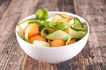 melon, zucchini and basil