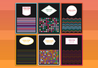 6 Greeting Card Layouts with Colorful Design Elements