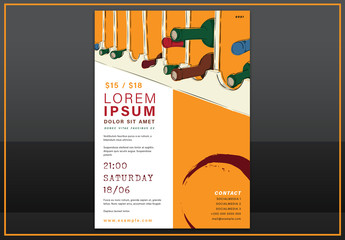 Flyer Layout with Wine Bottle Illustrations