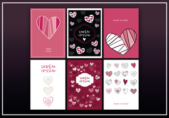 6 Greeting Card Layouts with Heart Illustrations