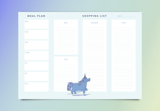 Weekly Meal Planner with Smiling Unicorn Illustration