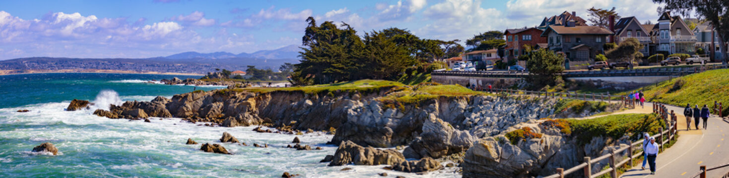 Pacific Grove, California - USA; February 20, 2018; Located between Monterey and Pebble Beach, visitors and residents to Pacific Grove enjoy  stunning sea views, Lover's Point Park, Otter's Cove, 500