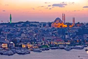 Istanbul at dusk. Sunset over Golden Horn. Mosque