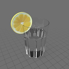 Water with lemon in glass