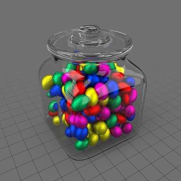 Chocolate eggs in jar