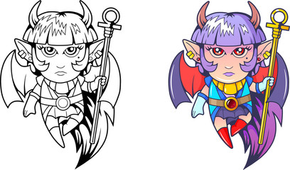 cartoon cute succubus, coloring book