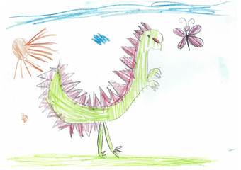 Children's drawing with colored pencils with a picture of a dinosaur and a butterfly