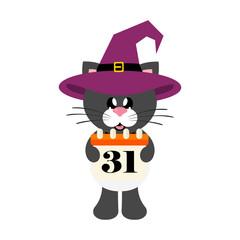 cartoon cute cat black with tie in hat and halloween calendar