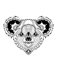 Koala bear zentangle stylized. Freehand vector illustration