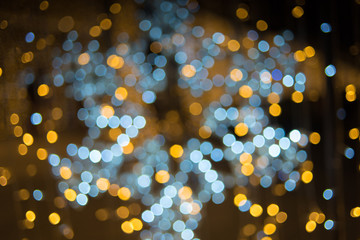 background bokeh gold light and colorful of night