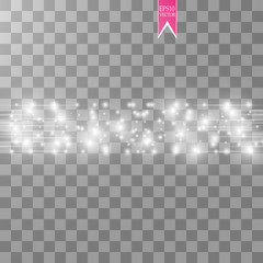 Vector white glitter wave abstract illustration. White star dust trail sparkling particles and speed lines isolated on transparent background. Magic concept