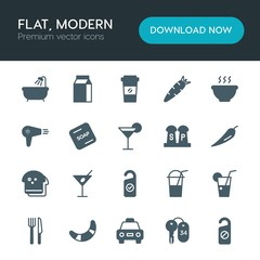 Modern Simple Set of food, hotel, drinks Vector fill Icons. ..Contains such Icons as  box,  cab, hotel,  key, alcohol,  martini,  room, ice and more on white background. Fully Editable. Pixel Perfect