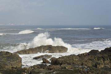 Fototapeten Rosa hell Seascape at Whitley Bay