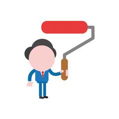 Vector illustration businessman holding red paint brush roller